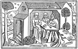 The Grief of Hannah, Cologne Bible, c. 1475, from A Brief History of Wood-engraving from its Invention by Joseph Cundall (1895)