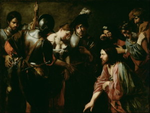 Valentin de Boulogne, Christ and the Adulteress, c. 1620s