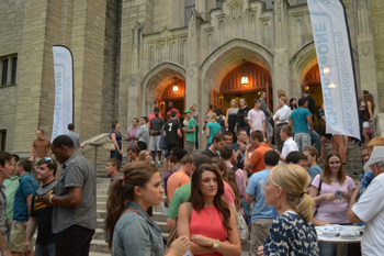 Young adults gather for mid-week worship in Charlotte, N.C.