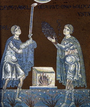 Abel and Cain Offer Their Sacrifice to God, Byzantine mosaic in the Cathedral of Monreale.