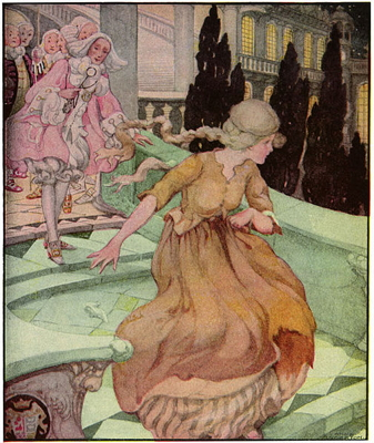 Cinderella lost her slipper as she ran from the castle. Anne Anderson (Wikimedia Commons).