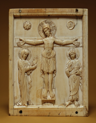 Crucifixion, 10th century. An elaborate halo surrounds the head of Christ, who is flanked by the Virgin and St. John. Small representations of the sun and moon above the cross symbolize the cosmic importance of the Crucifixion.