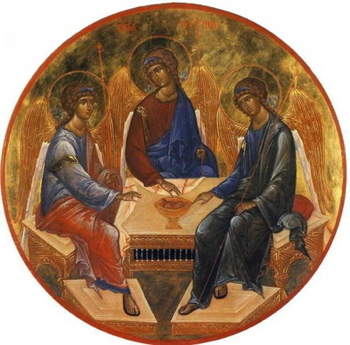 A book miniature depiction of Andrei Rublev's Trinity, Russia