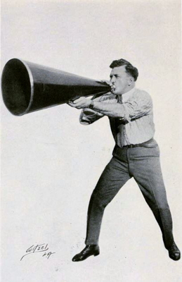American director Thomas H. Ince using a giant megaphone, from Peter Milne, Motion Picture Directing; The Facts and Theories of the Newest Art (1922)
