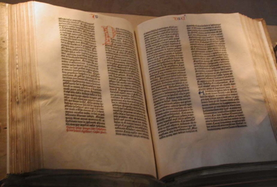 The Gutenberg Bible is the oldest printed book in the west, printed around 1454-1455 AD.