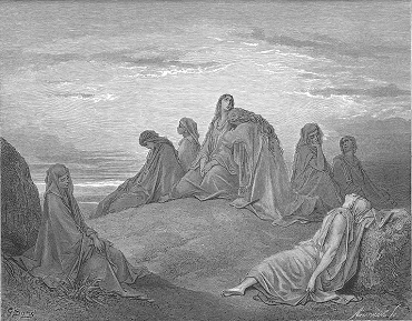 Israelite Women Mourn with Jephthah's Daughter. Gustavo Doré, 1866. (Wikimedia Commons)