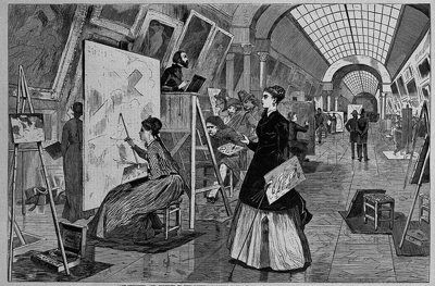 Art-Students and Copyists in the Louvre Gallery, wood engraving (Wikimedia Commons, Brooklyn Museum).
