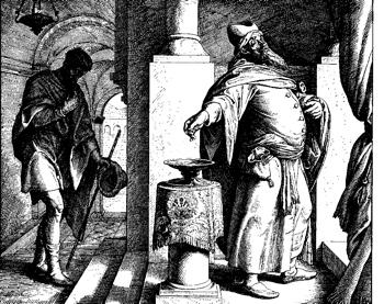 Julius Schnorr von Carolsfeld, The Pharisee and the Publican, woodcut for Die Bibel in Bildern, 1860.
