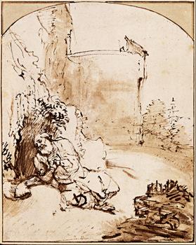 Rembrandt van Rijn, The Prophet Jonah before the Walls of Nineveh, c. 1655