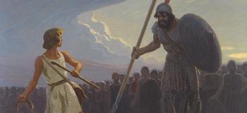 Gebhard Fugel. David gegen Goliath. Painting.