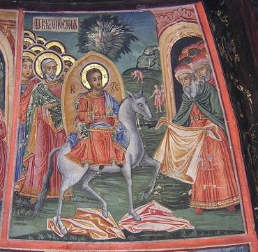 Fresco of the entry of Christ into Jerusalem, Preobrazhenski monastery, Bulgaria (Wikimedia Commons, Preslav)