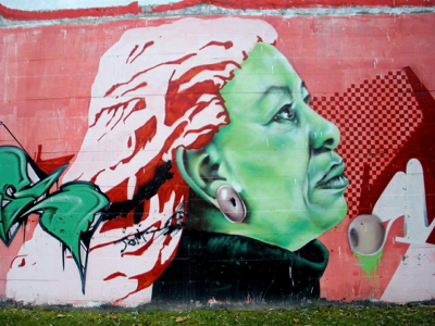 A graffiti artist painted this image of Toni Morrison on a neighborhood wall in Vitoria-Gastiez, Spain. It remained for about three years before being removed in 2014.