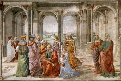 Domenico Ghirlandaio, Zacharias Writes Down the Name of His Son, Cappella Tornabuoni, Santa Maria Novella, Florence, Italy (fresco)