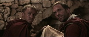 Clavius (Joseph Fiennes) and fellow soldier Lucius (Tom Felton) in a scene from Risen