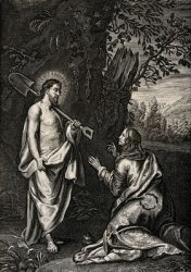 The Risen Christ Appears as Gardener to Mary Magdalene. Engraving (Wikimedia Commons).