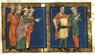 """Rudolf von Ems, """"Ehud Killed King Eglon"""" (Wikimedia Commons)"""