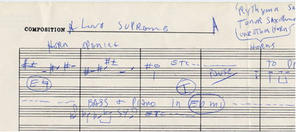 Detail of a handwritten sheet music for John Coltrane's religious suite A Love Supreme.