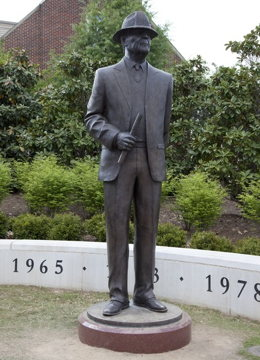 "Statue of Paul ""Bear"" Bryant outside Bryant-Denny stadium at the University of Alabama"